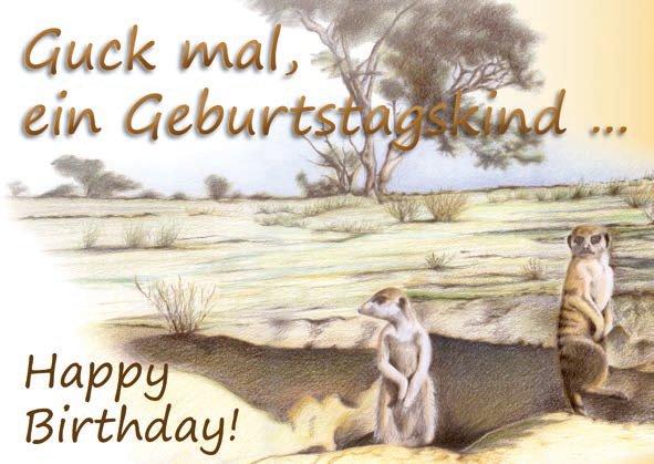 Geburtstagskarte Erdmännchen